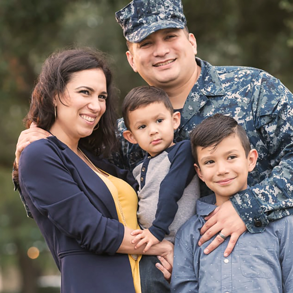 Military family at home